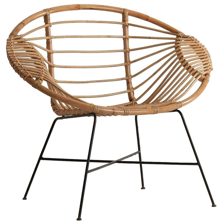 Rattan and Black Metal Armchair For Sale