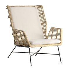 Midcentury Style Rattan and Black Metal Armchair