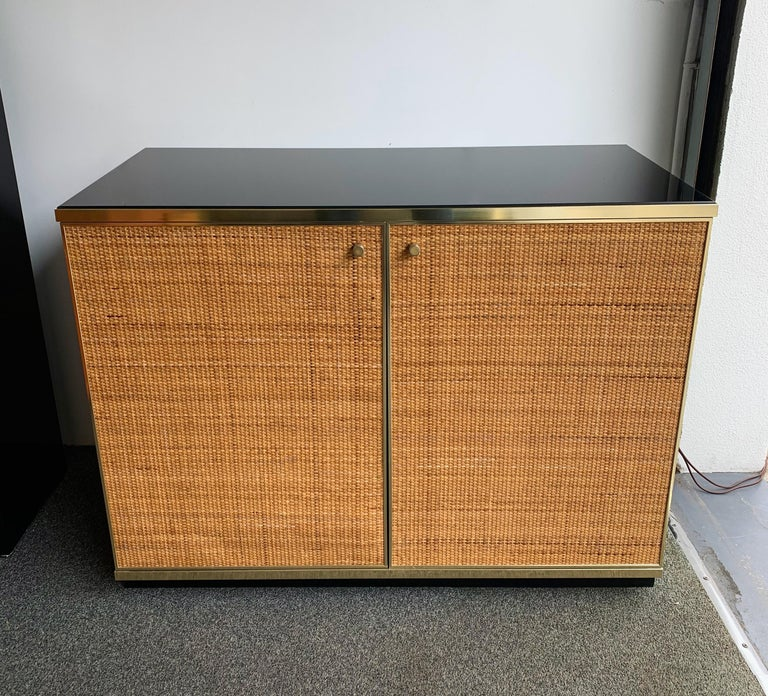 Rattan and Brass Buffet by Renato Zevi, Italy, 1970s 5