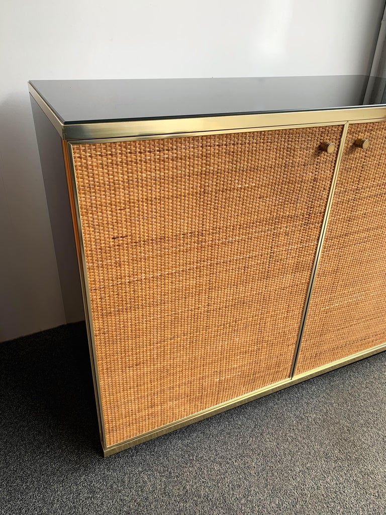 Italian Rattan and Brass Buffet by Renato Zevi, Italy, 1970s