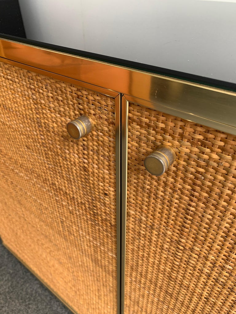 Rattan and Brass Buffet by Renato Zevi, Italy, 1970s 3