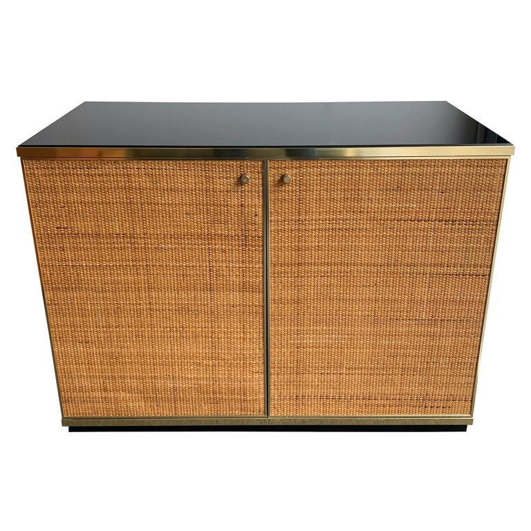 Rattan and Brass Buffet by Renato Zevi, Italy, 1970s