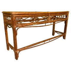 Rattan and Brass Console Table
