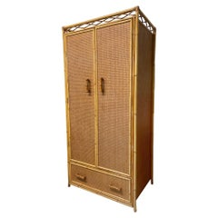 Rattan and Cane Large Armoire or Wardrobe