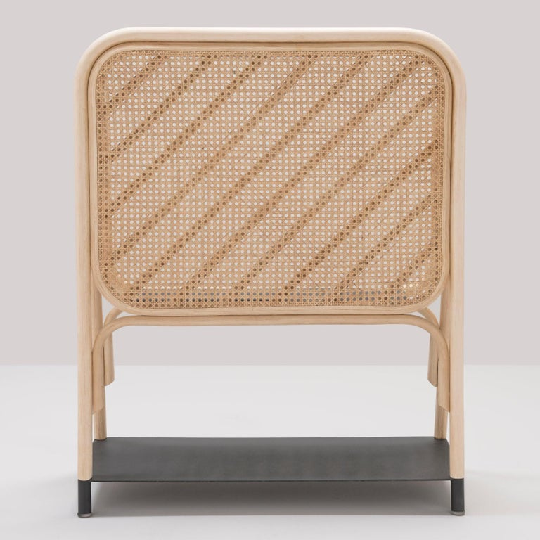 Minimalist Rattan and Cane Screen Divider with Shelves French Design For Sale