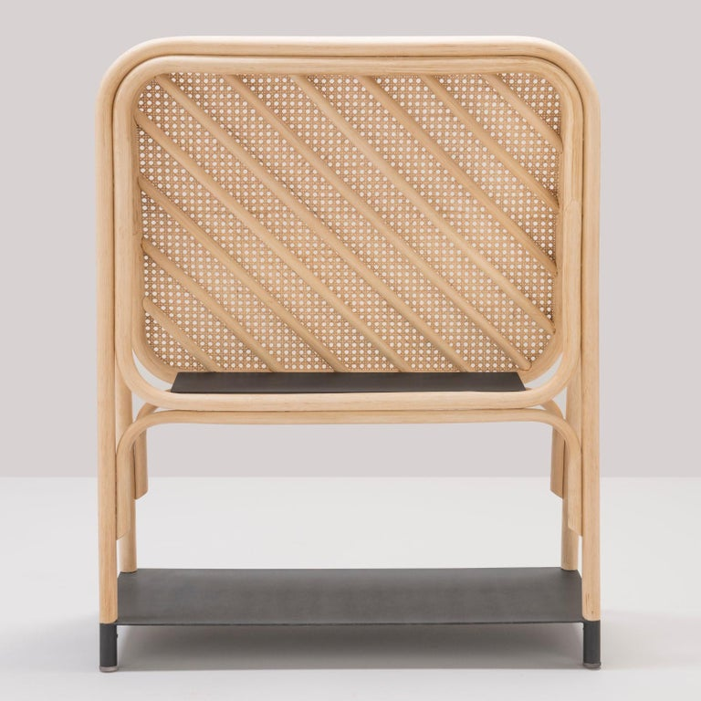 Contemporary Rattan and Cane Screen Divider with Shelves French Design For Sale