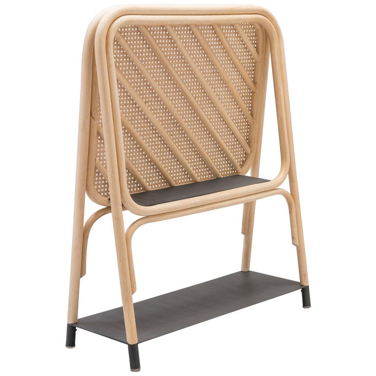 Rattan and Cane Screen Divider with Shelves French Design For Sale