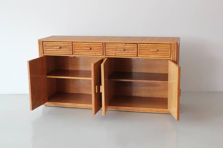 Rattan and Caned Cabinet In Good Condition For Sale In Los Angeles, CA
