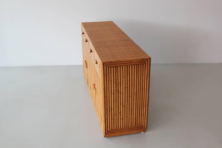 Mid-20th Century Rattan and Caned Cabinet For Sale