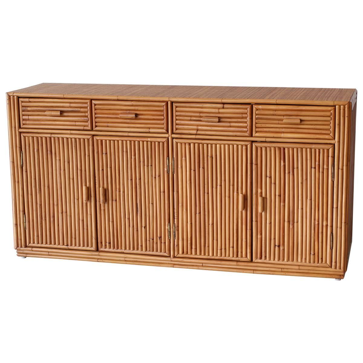 Exceptionnel Rattan And Caned Cabinet For Sale