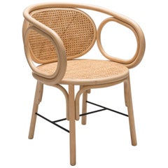 Rattan and Canne Armchair French Modern Design