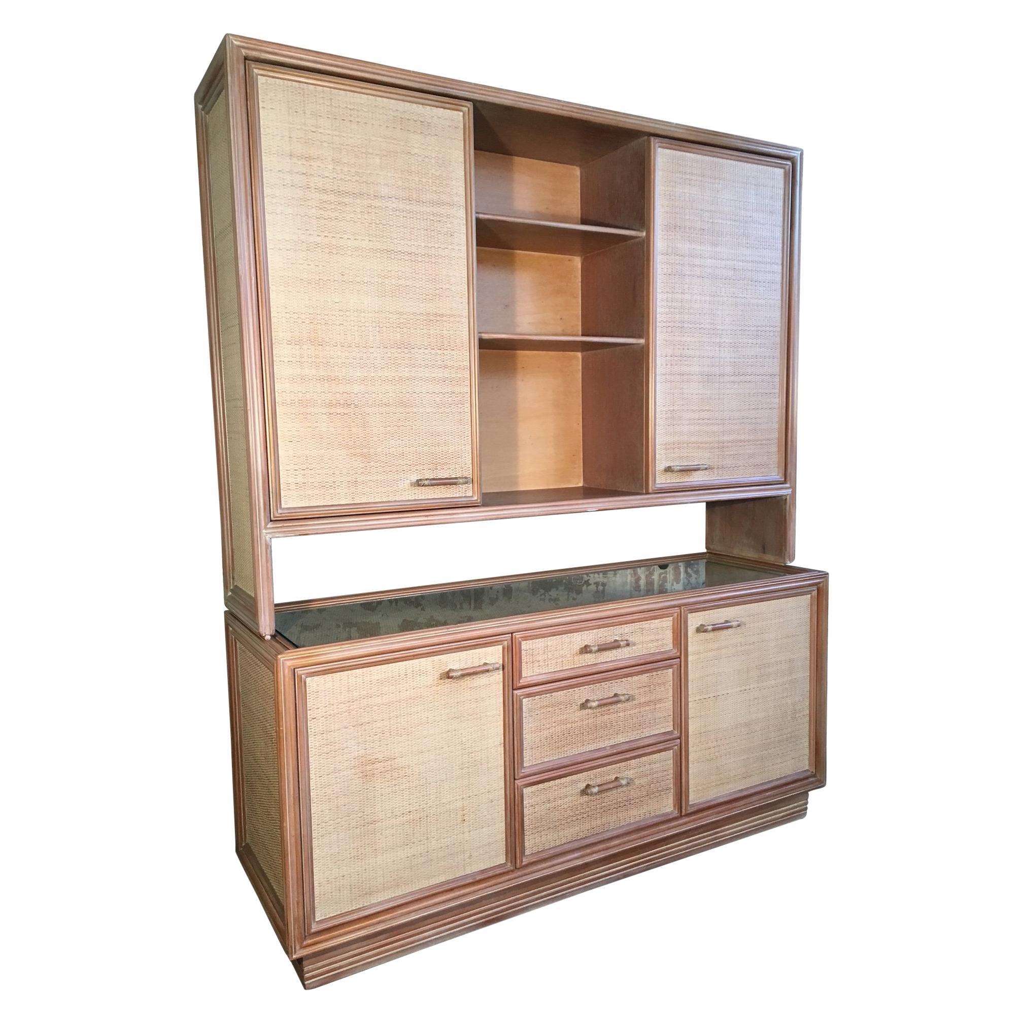 Rattan And Faux Bamboo China Buffet Cabinet With Hutch For Sale