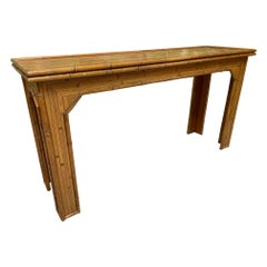 Rattan and Faux Bamboo Console Table
