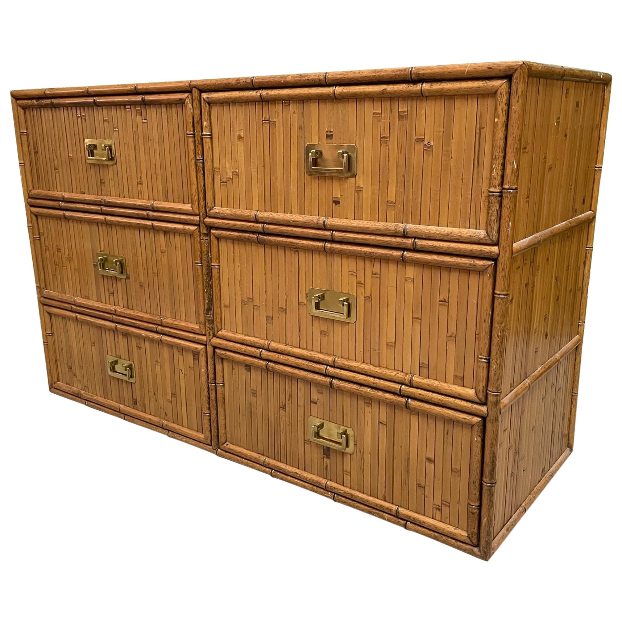 Rattan and Faux Bamboo Double Dresser