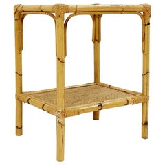 Rattan and Glass End Table
