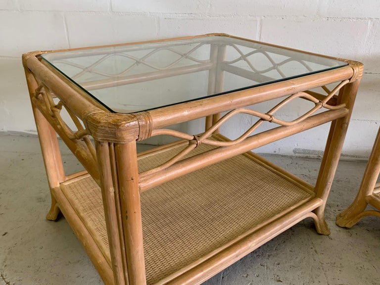 Late 20th Century Rattan and Glass End Tables, a Pair For Sale