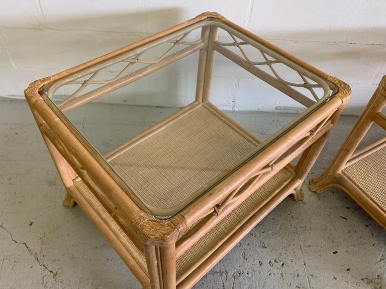 Rattan and Glass End Tables, a Pair For Sale 1
