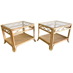 Rattan and Glass End Tables, a Pair