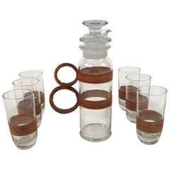 Rattan and Glass Highball Cocktail or Iced Tea Pitcher and 6 Glasses