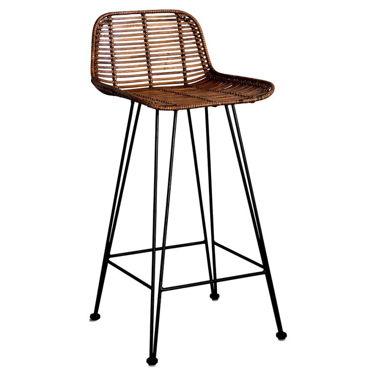 Rattan and Iron Barstools For Sale
