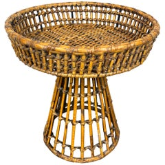 Rattan and Iron Raised Centerpiece by Arthur Umanoff, 1970s