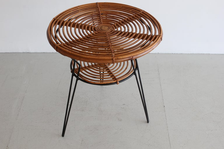 Italian two tiered table with hairpin tripod legs.  Italy, circa 1960.