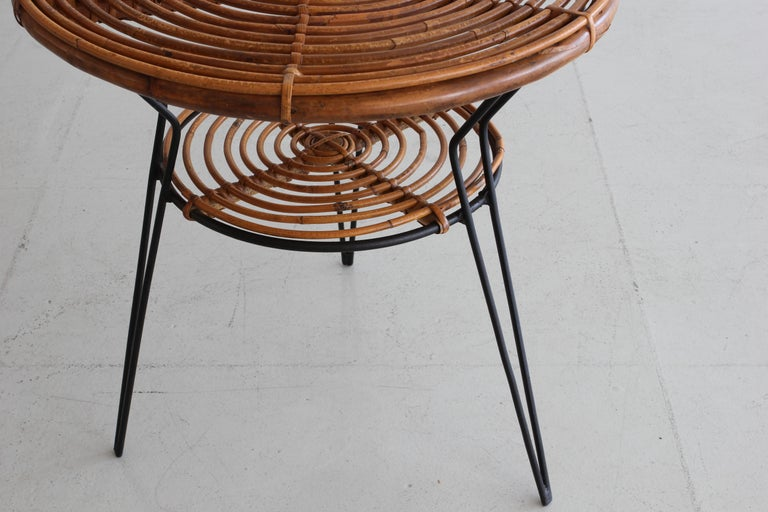 Italian Rattan and Iron Side Table For Sale