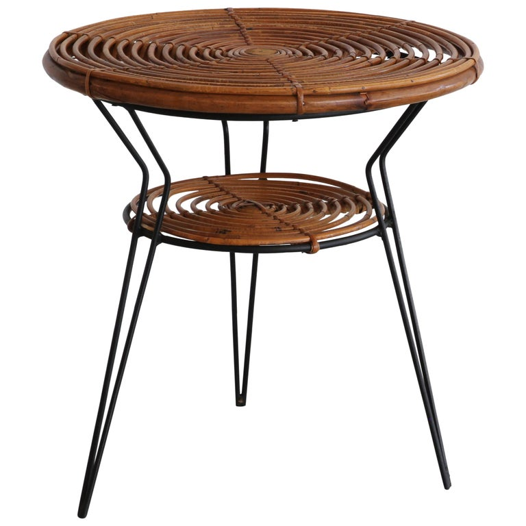 Rattan and Iron Side Table For Sale
