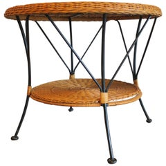 Rattan and Iron Two-Tier Coffee Table Mid Century