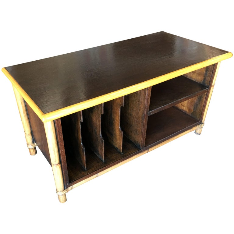 Furniture For Tv Components: Rattan And Mahogany TV Stand With Component And Record