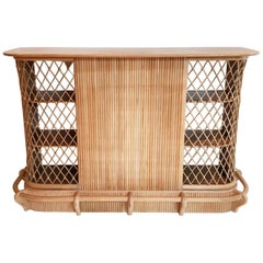 Rattan and Meranti Tiki Bar with Nude Surface Veneer and Webbed Cane Decoration