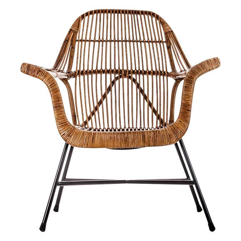Spanish Rattan and Metal Midcentury Design Armchair For Sale