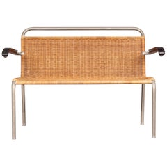 Rattan and Metal Modernist Bench