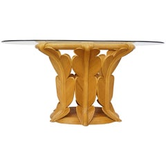 Rattan and Oval Bevelled Glass Tray Organic Dining Table