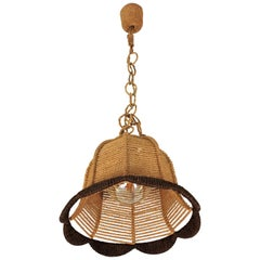 Rattan and Rope Bell Ceiling Pendant Light Hanging Lamp, Spain, 1960s