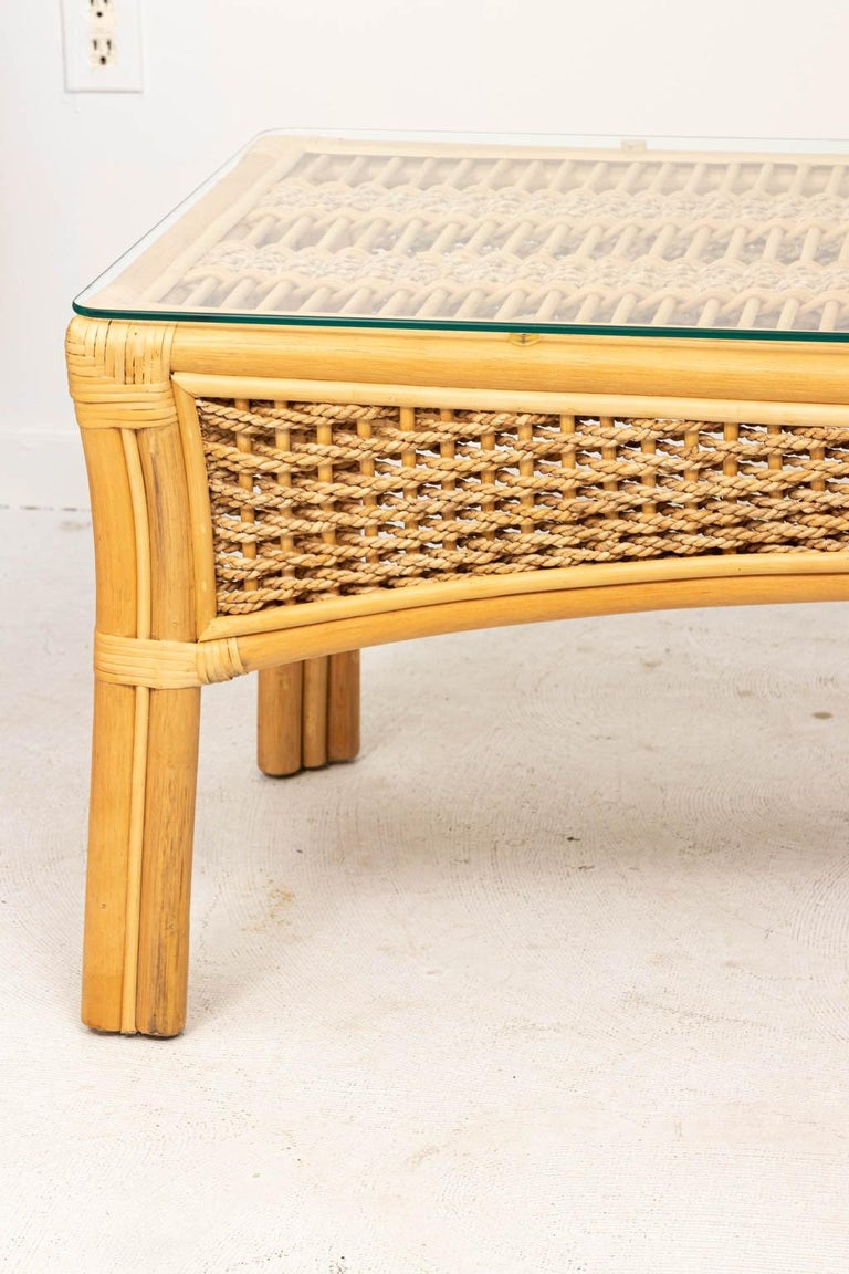 Hollywood Regency Rattan and Rope Glass Top Coffee Table For Sale
