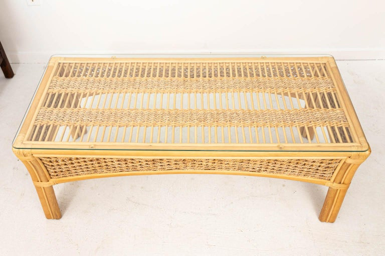 American Rattan and Rope Glass Top Coffee Table For Sale