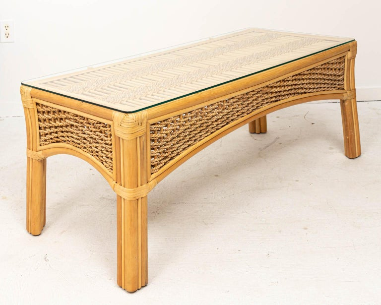 Rattan and Rope Glass Top Coffee Table In Good Condition For Sale In New York, NY