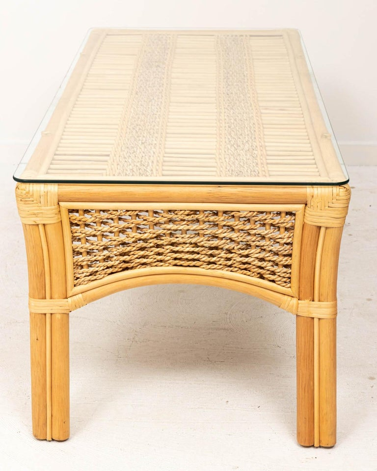 Late 20th Century Rattan and Rope Glass Top Coffee Table For Sale