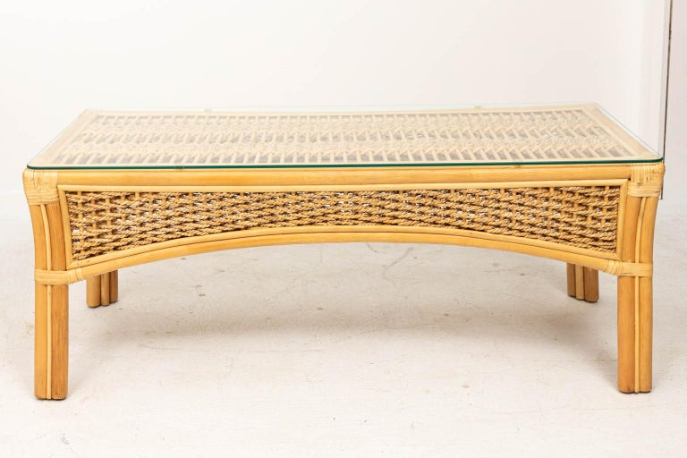 Bamboo Rattan and Rope Glass Top Coffee Table For Sale