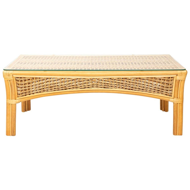 Rattan and Rope Glass Top Coffee Table For Sale