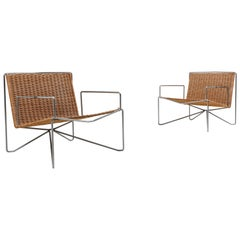 Rattan and Steel Armchairs Gelderland, 1964