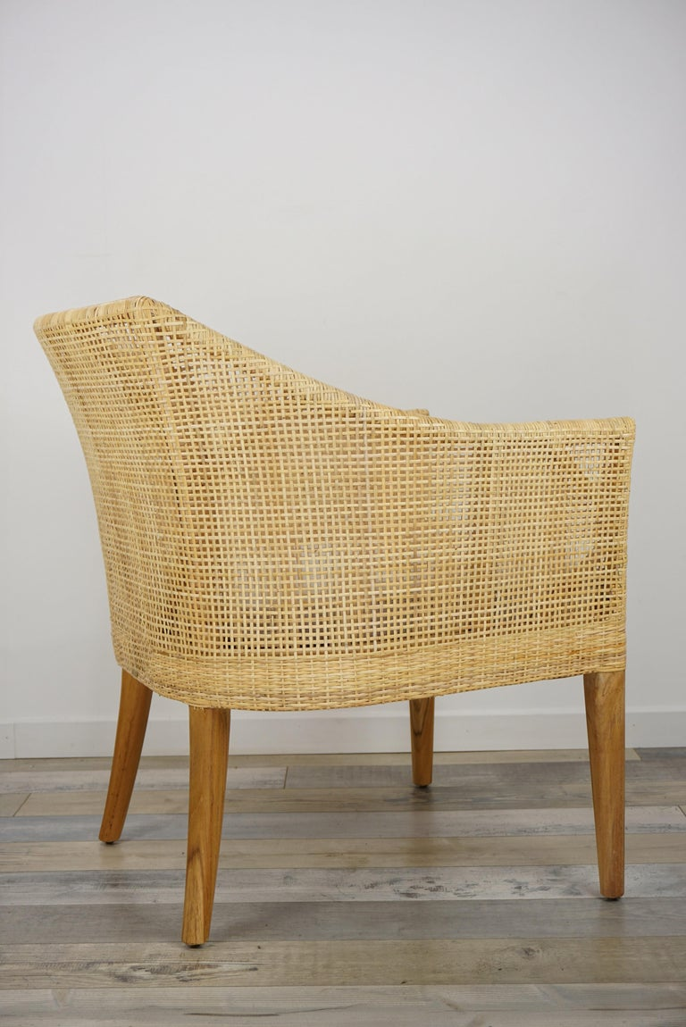 Rattan and Teak Wooden Armchair For Sale 4