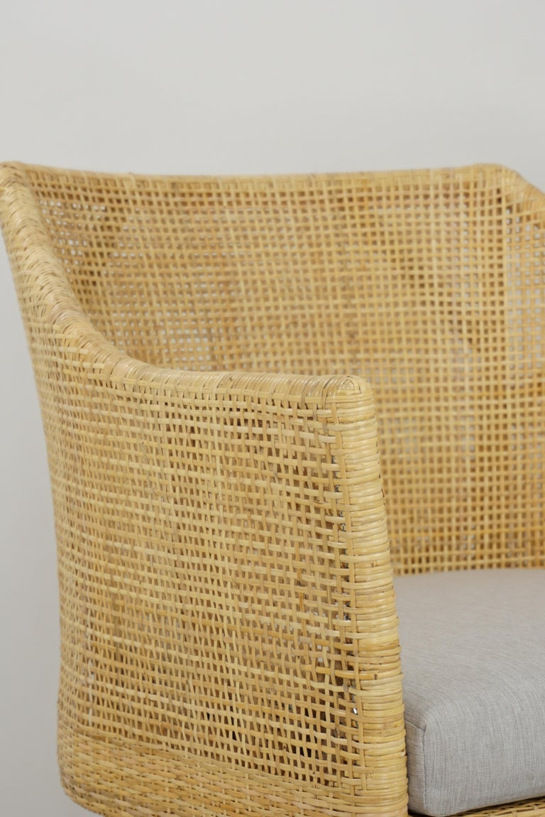 Rattan and Teak Wooden Armchair For Sale 6