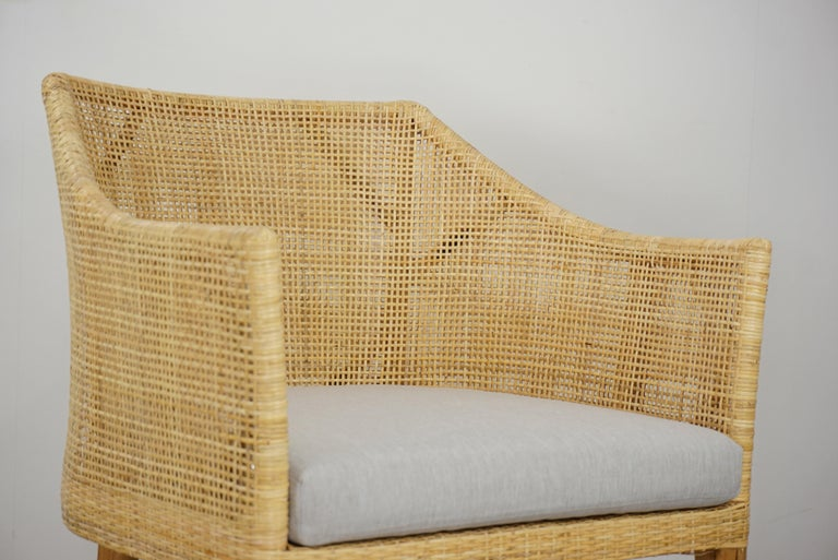 Rattan and Teak Wooden Armchair For Sale 7