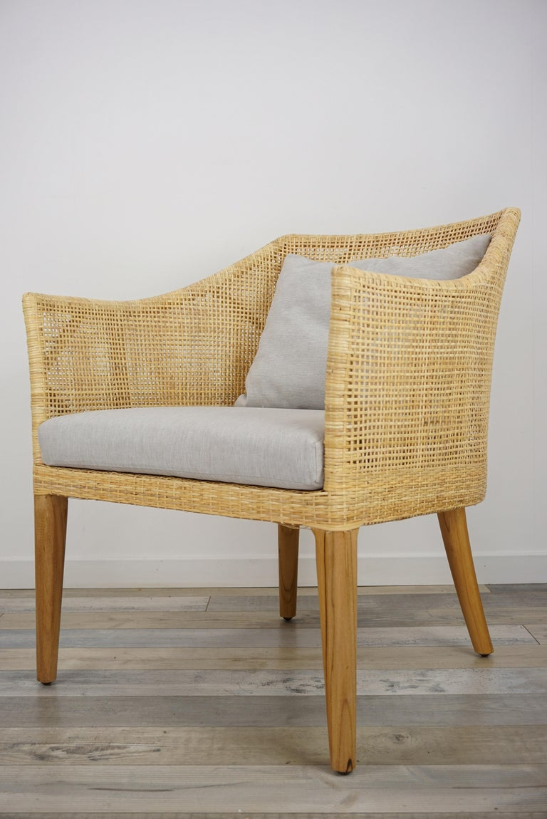 Rattan and Teak Wooden Armchair For Sale 9