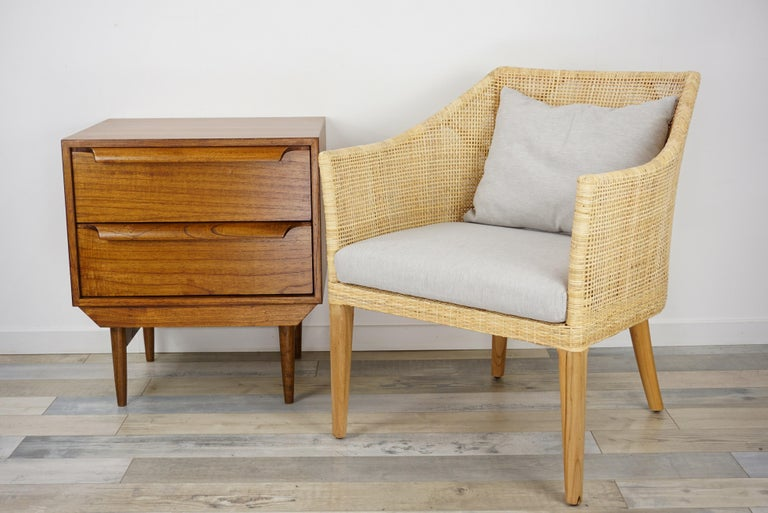Rattan and Teak Wooden Armchair For Sale 10