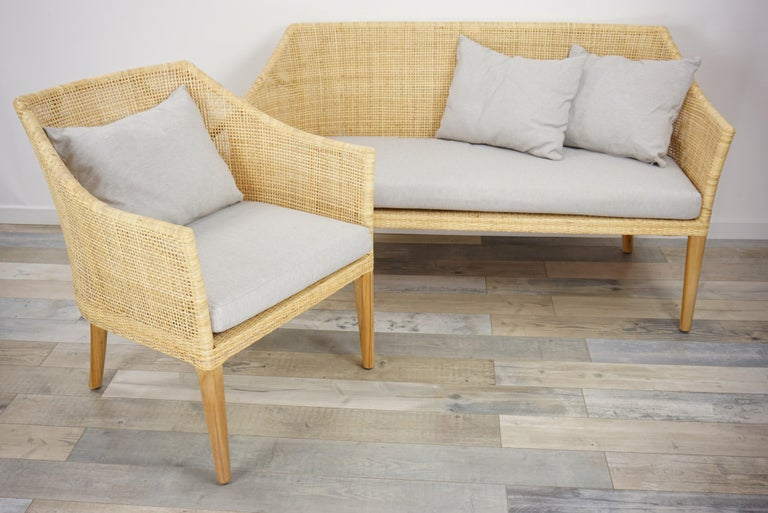 Rattan and Teak Wooden Armchair For Sale 11