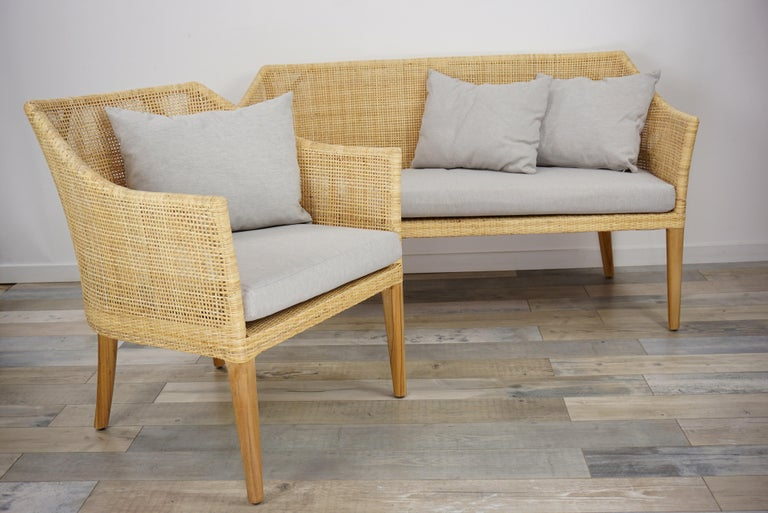Rattan and Teak Wooden Armchair For Sale 12