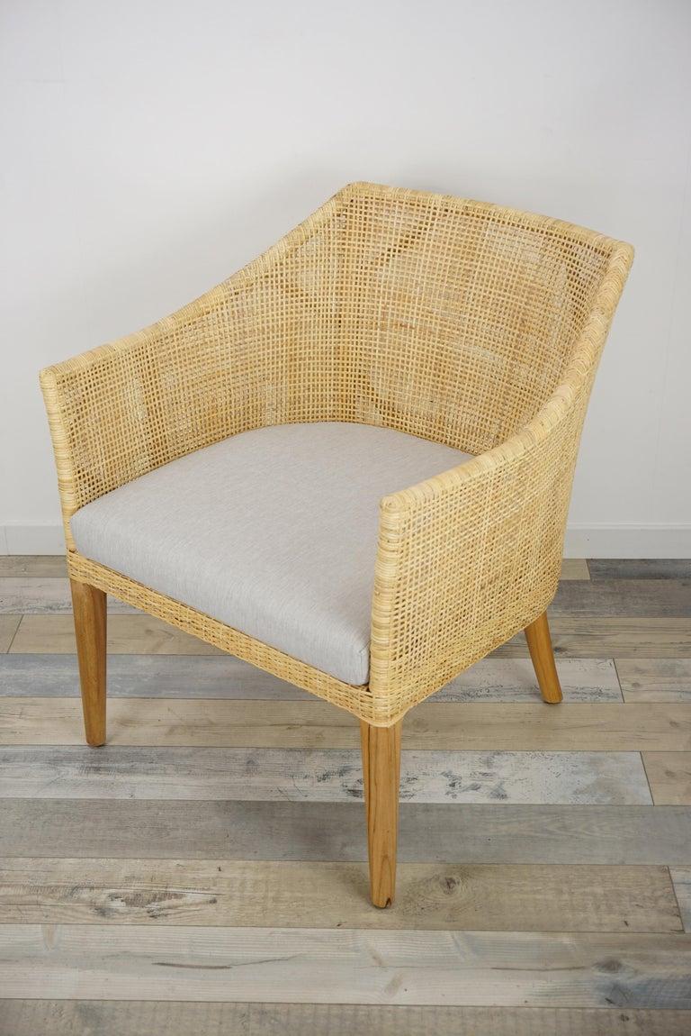 Scandinavian Modern Rattan and Teak Wooden Armchair For Sale